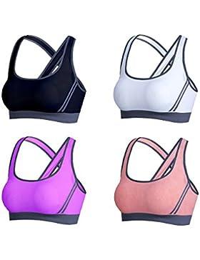Srizgo Sport BH Damen 4er Pack seamless nahtlos Sport BH mit dem starken Halt Sport BH gepolstert für Yoga Fitness