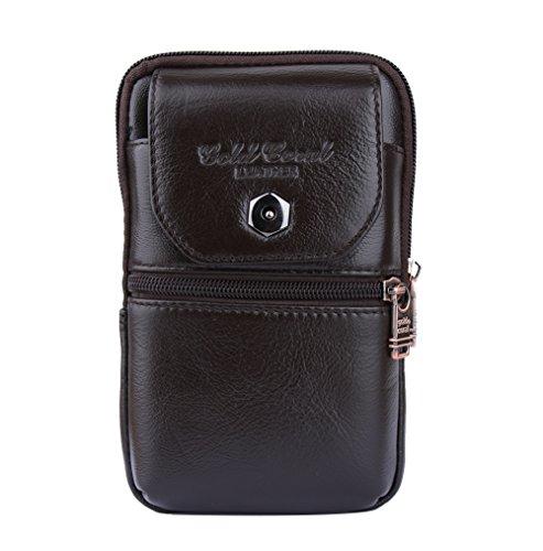 Genda 2Archer Cuero Genuino Ganchos Verticales Cintura Bolsa Bolso del Bumbag del Teléfono Móvil Gran Estilo (11 cm * 4 cm * 18 cm) (Café)