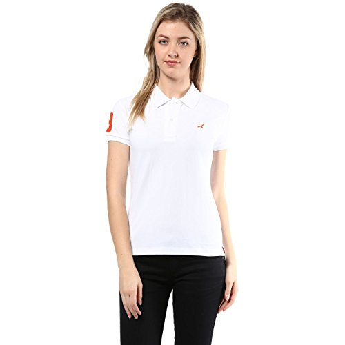 American Crew Women's Polo Collar Solid With Applique T-shirt (white)