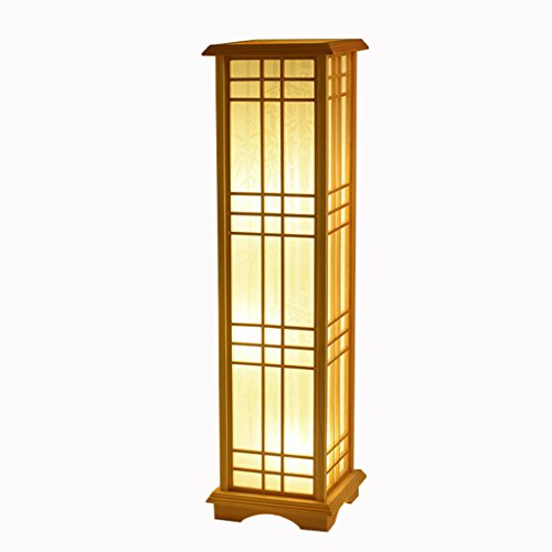 TangMengYun Lámpara de pie de madera de estilo japonés, lámpara estándar rectangular para lámpara de cabecera de dormitorio Sala de estudio de habitación lámpara de piso ( tamaño : 24*24*85CM-E27*3 )