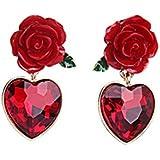 Fashionable Heart Shape Crystal Pendant Earrings Red Rose Jewelry Alloy Flower Womens Dangle Earring (Red)