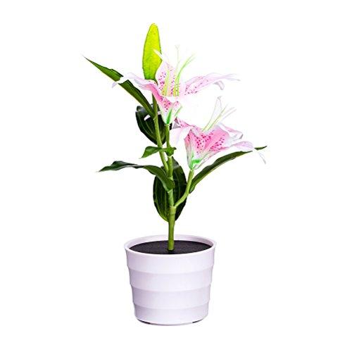 LEDMOMO Lilien Blumen Licht, Blumen Design Solarleuchte künstliche Blumen mit LED im Topf für Außen und Innen Dekoration (Rosa Blume) (Innen-blumen-töpfe)