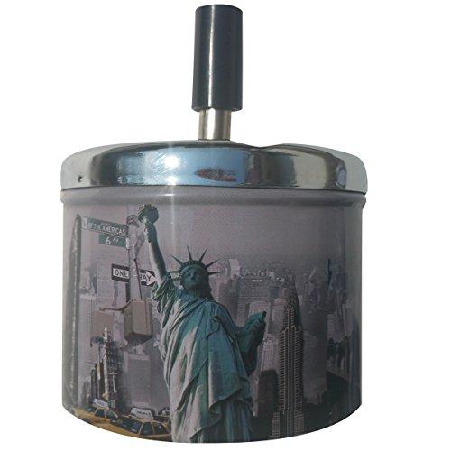 CONDELLO Casa Rauchfreie Metall Aschenbecher PUSH DOWN für Zigaretten Zigarre mit Spinning Tablett Deckel für automatische Outdoor, Indoor, Home Tischplatte niedlicher, sand, Auto 9cm Lx9cm Wx12cm H USA (Antikes Rundes Tablett)