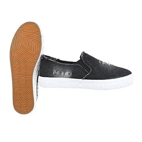 Ital-Design Sneakers Low Damenschuhe Sneakers Low Sneakers Freizeitschuhe Schwarz KK-18