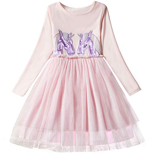 NNJXD Little Girl Einhorn Kleider mit langen Ärmeln beiläufige Ausstattung Kinder Tutu Röcke Größe (140) 6-7 Jahre Rosa