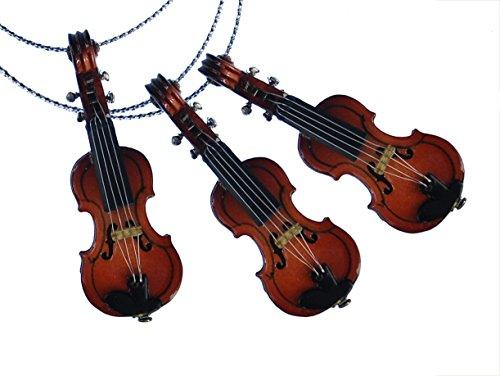 Miniblings 3 Stück Weihnachtsbaumanhänger Christbaumschmuck Dekoration Geige Violine Holz (Christbaumschmuck Musikalischer)