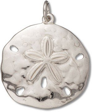 Sterling Silver High Polish Medium Sand Dollar Charm with Split Ring - Item #3355 by CharmCountry