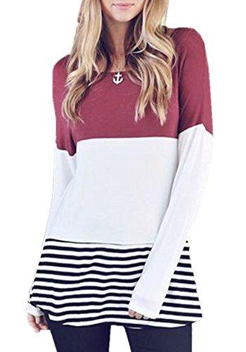 Donna Casual Elegante Rotondo Collo Manica Lunga T-shirt Abito Vestiti Irregolare Dress Abiti Vestitino Vino rosso