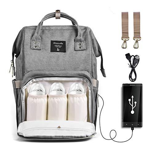 Wickeltasche Rucksack, SIYUMAOYI Wickeltasche Baby Wasserdichte Tasche mit USB-Ladeanschluss & Kinderwagen Gurte & Windel-Pad für Mama und Papa(grau)