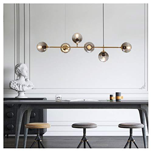 Y.H_Super Pendelleuchte Moderne und einfache Kronleuchter Metallic-Glas Deckenbeleuchtung Restaurant Wohnzimmer Schlafzimmer E27 Licht (Size : 6 Heads) Metallic-stich