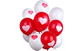 PuTwo Balloons 12 Inch Pack of 50 Heart Shape Latex Balloons Party Supplies for Wedding Decoration Baby Shower or Kids Birthday Decoration - Pink/White/Red