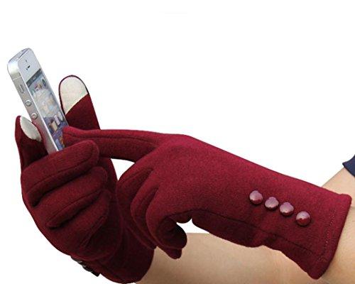Gants Femme, Koly Mode Femmes Tactile ÉCran Sports D'Hiver En Plein Air Gants Chauds (Rouge)