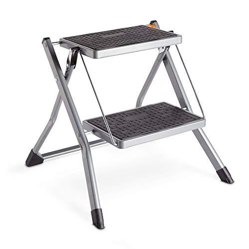 VonHaus Ladder, Robust Folding Ladder 2 steps - Non-Slip Feet - Ideal For Home/Kitchen/Garage