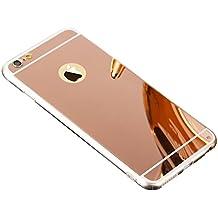 "Espejo Funda TPU Carcasa para Apple iPhone 6S Plus / 6 Plus 5.5"", Aohro Ultra Thin Mirror Efecto Trasero Caso Silicona Transparente Bumper Phone Frame Case Cover - Oro Rosa"