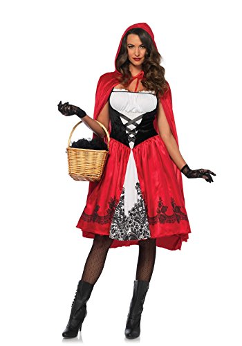 Leg Avenue 85614 - Kostüm Set Klassische Rotkäppchen, Damen Fasching, L, rot (Hood Red Lange Cape Riding)