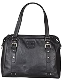 Faro 100% Genuine Leather Hand Bag For Women & Girls (Black)
