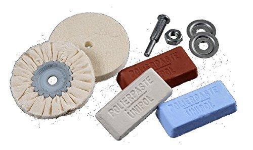 Osborn 1203600000 Polierset für Bohrmaschine, 6-teilig für Metall D 85/80 1x Baumwolltuch-Ring, 1 x Filzscheibe, 3 Polierpasten weiß, braun, blau, Schaft D6 mm