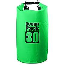 NOVECASA Premium Bolsa Impermeable Estanca 2L/5L/10L/20L/30L Seca de PVC Tarpaulin Heavy-Duty PVC Impermeable Prueba de Bolsa de Saco Seco para Kayak/Canotaje/Pesca/Rafting/Natación/Camping/Snowboard (Verde, 2L)