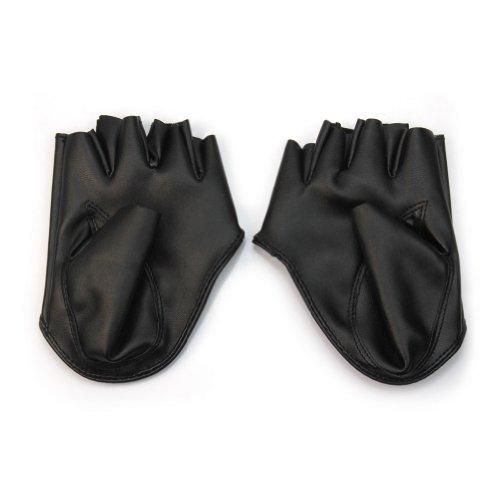 Un par de Moda Mujer Cuero PU Guantes de Medio Dedo para Show Fiesta d