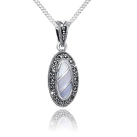 MATERIA 925 Silver Jewellery Set Earrings Pendant &Ladies Marcasite Pearl
