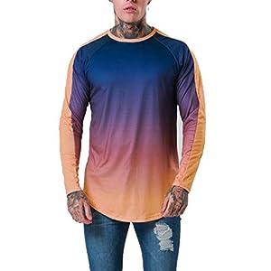 EUZeo Herren Langarm T-Shirt mit Farbverlauf und Rundhalsausschnitt Pullover Sweatshirts Casual Mode Trainingsanzug Tops Tunika
