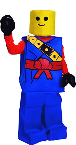Dress Up America Halloween Kinder Block Ninja Mann Kostüm Outfit blau (Lego Mann Kostüm Kopf)