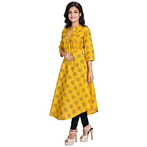 ESSEMM Women's Yellow Cotton Printed Anarkali Kurti Kurta (X-Large)