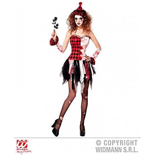 Kostüm Horror Harlekin Mädchen / blutiges Halloweenkostüm Horrorclown mit Armstulpen und Minihut / Damenkostüm Gr. S = 36 - 38
