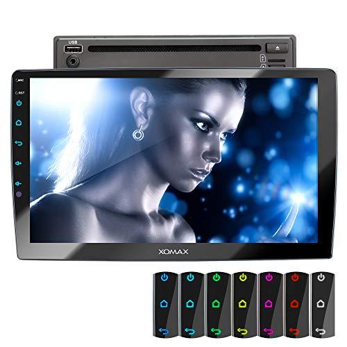 XOMAX XM-2D1006 Autoradio mit 10,1 Zoll / 25,7cm Touchscreen Bildschirm, DVD,CD, Mirrorlink, Bluetooth Freisprecheinrichtung, LED Multicolour, RDS, SD, USB, 2 DIN