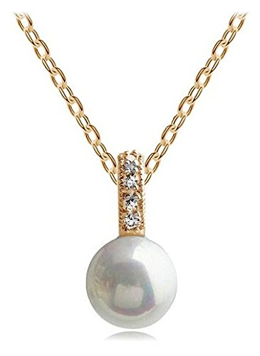 Silver Shoppee Pristine 18K Yellow Gold Plated Cubic Zirconia and Pearl Studded Metal Pendant for Girls and Women