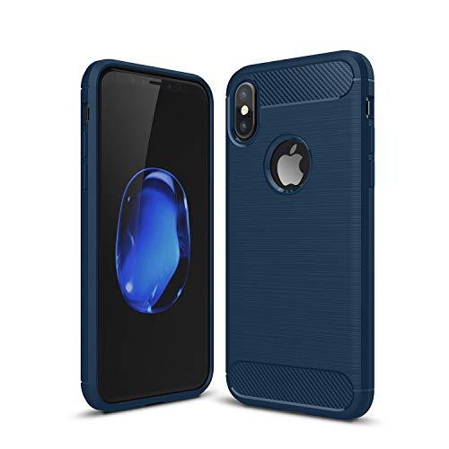Kit Me Out DE® iPhone X Schutzhülle TPU-Gel Gebürstete Carbonfaser Hülle Rückseite - stoßfest & robust - für Apple iPhone X - Blau