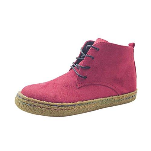 n Winter Herbst Schuhe Mode Mädchen Stiefeletten Frauen Weiche Fache Knöchel Schuhe Weibliche Wildleder Schnürstiefel (Rot, 39) ()