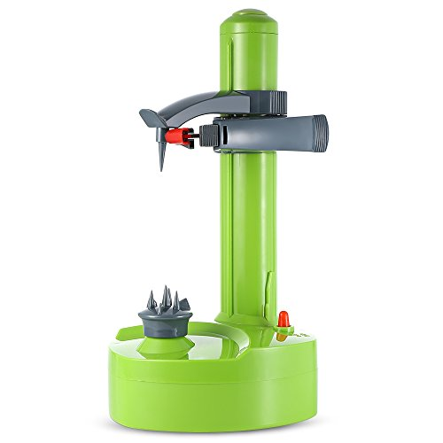 Shumo éplucheur électrique Multifonction pour Fruits et Légumes éplucheur De Pommes Automatique en Acier Inoxydable Machine De Coupeur De Pommes De Terre De Cuisine Roug