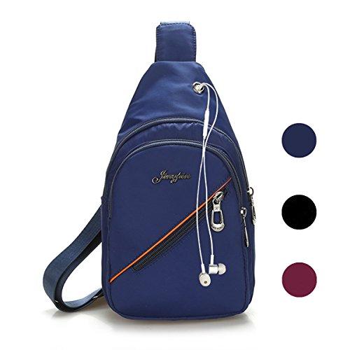 Veriya, borsa a tracolla monospalla casual impermeabile con porta per cuffie per viaggio, trekking, ciclismo, per uomo, donna, ragazza, Black Blue