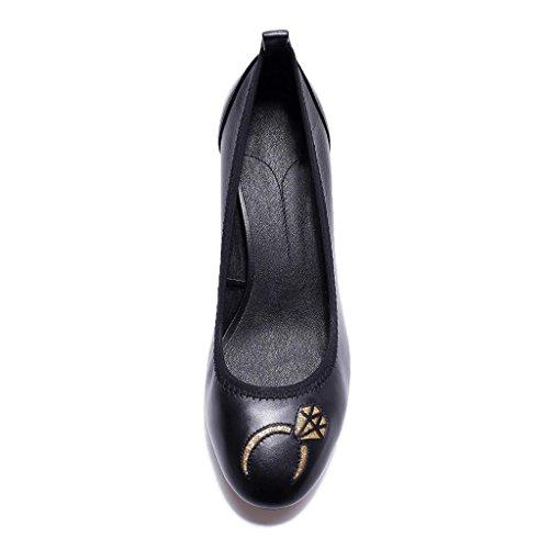 W&LMScarpe Scarpe singole Confortevole vera pelle Posto di lavoro Scarpe da lavoro Scarpe basse Black