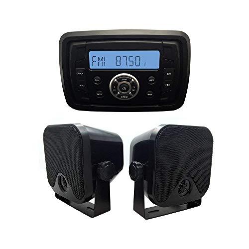 Herdio Marine Stereo-Receiver Lautsprecher-Set, integrierte LCD-Digitalkonsole, integriertes Stereo-Soundsystem + 10,2 cm Meeresoberflächenhalterung, Schwarz Lcd-marine 2-wege-radio
