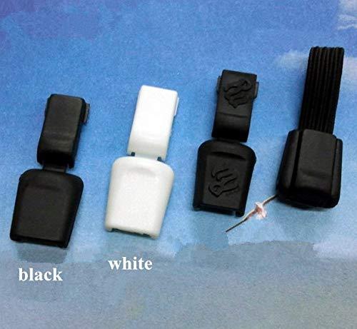 CUSHY Nylon 100pcs Blanc Noir en Plastique Zips Cordon Stopper Fin de Verrouillage Clips Zip Corde Boucle Paracord DIY: Blanc