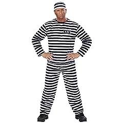 Idea Regalo - WIDMANN Carcerato Bianco/Nero Casacca Pantaloni Cappello Costumi Completo Adulto 291