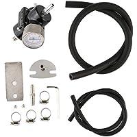 Mazur Regulador de presión de Combustible Universal con 0-140 PSI Kit de Manguera de Calibre Ajustable Regulador de presión de Aceite Profesional (Negro)