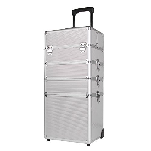 Ridgeyard 5 in 1 Kosmetikkoffer Trolley Universal große Aluminium Beauty Case Trolley Make up Case(Silber)