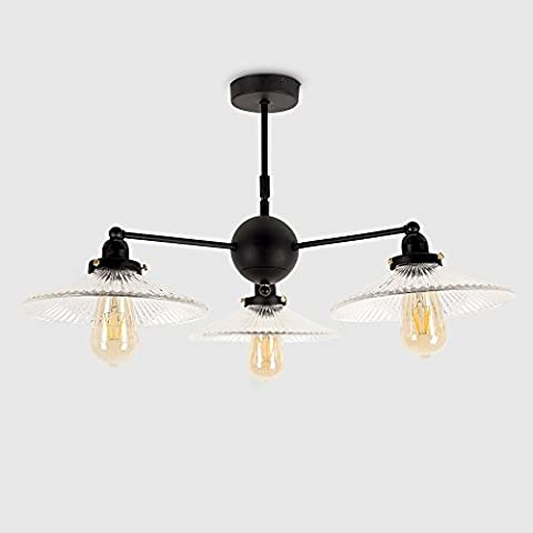 Industrial Steampunk Style Satin Black 3 Way Pipework Over Table Ceiling Light with Clear Glass Ribbed Design Shades - Complete with 4w LED Filament Bulbs [2700K Warm White]