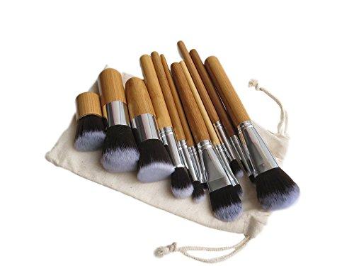 Lot de 11 pinceaux à maquillage Pro en bois naturel cheveux Pinceaux de Maquillage avec pochette de rangement (cm0021)
