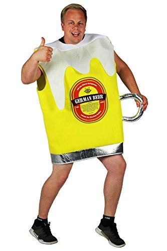 Foxxeo 40320 | Gelbes Bierglas-Kostüm für Den Männer Junggesellenabschied Bier Glas Pils Gr. M - XXXL, Größe:XXL