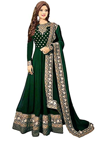 Ruri Enterprise green New Semi Stitched Embroidered Heavy Work Anarkali Suits for Women for Party Wedding Wear Anarkali Suits/Salwar Suits (green)