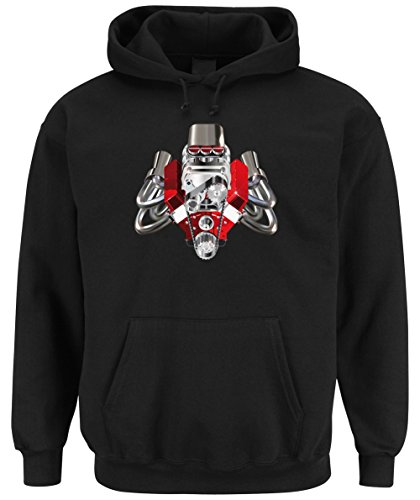 Hot Rod Engine Hooded Sweater Black Certified Freak-XXL (Hoodie Camaro)