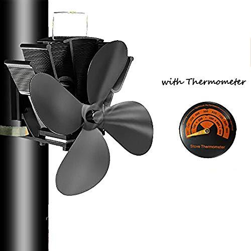 4 lames Tuyau de fumée Ventilateur de poêle Appareil de chauffage alimenté fixe sur le tuyau de cheminée en bois/poêle à bois/cheminée avec thermomètre gratuit noir