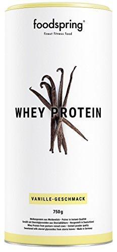 foodspring Whey Protein Pulver, Vanille, 750g, Eiweißpulver zum Muskelaufbau, Hergestellt in Deutschland mit sorgfältig ausgewählten Rohstoffen (Hohe Qualität-protein-pulver)