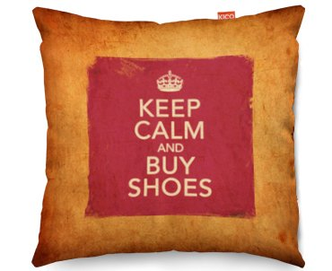Vintage Keep Calm and Buy Shoes Funky Sofa Kissen, Textil, grau, (80x80cm) Large