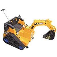 OutdoorToys Battery Operated Ride On Digger with 360 Degree Spin and Working Bucket