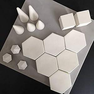 Atelier Ideco – Set Von 16 Displays Mit Weißen Steinen, Kegeln Und Mini Diamanten Stützen Betonringe